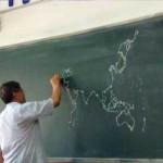 Desenhando o mapa do mundo nível asiático.