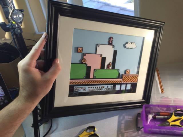 Artista cria quadro em 3D do Super Mario