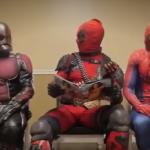 Homem Formiga, Deadpool e Homem Aranha na sala de espera