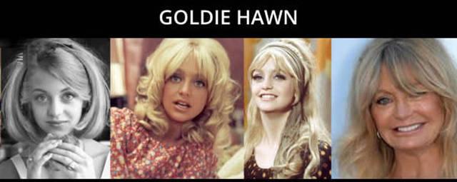 timeline do envelhecimento de Goldie Hawn