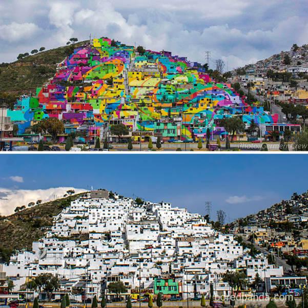 Edifícios sem vida estão se transformando com street art