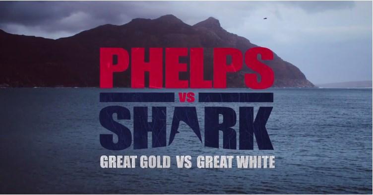 Michael Phelps disputando uma corrida contra um grande tubarão branco