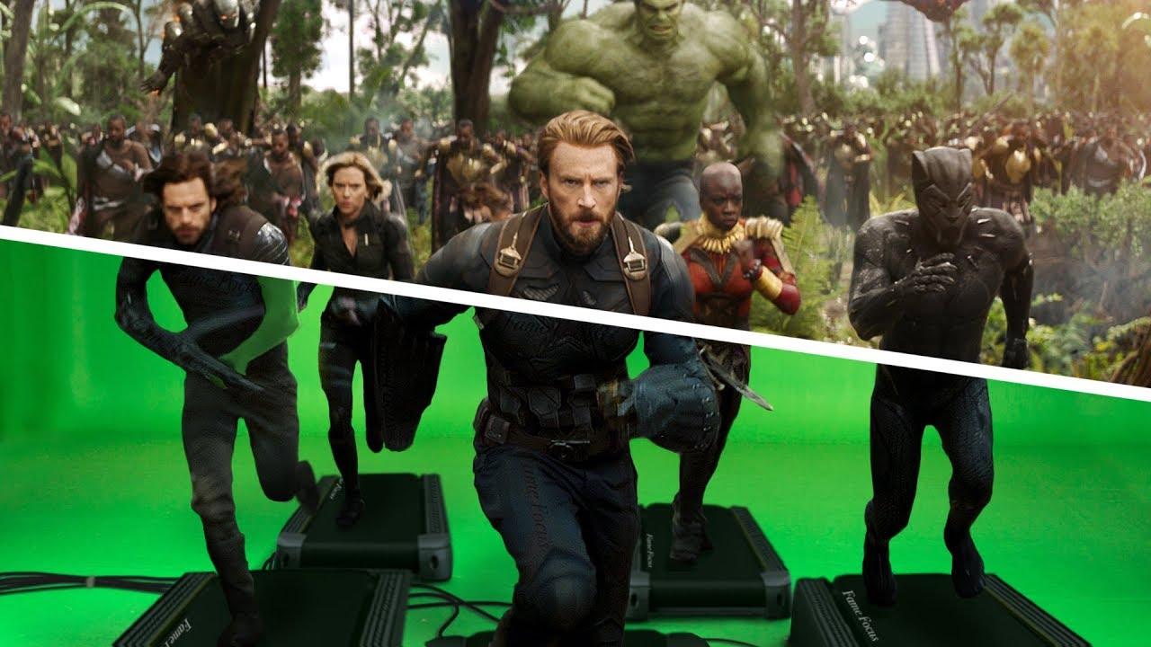 Vingadores Guerra Infinitas Antes e Depois do efeitos VFX